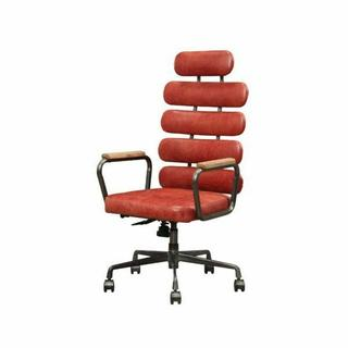 ACME Calan Executive Office Chair - 92109 - Vintage Red Top Grain Leather