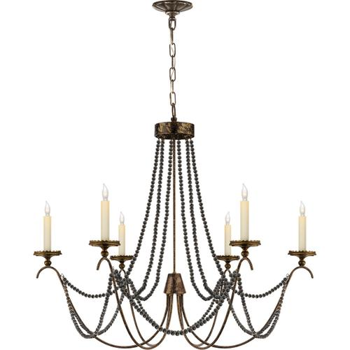 Visual Comfort - E. F. Chapman Marigot 6 Light 33 inch Hand Painted Rust Finish Chandelier Ceiling Light in (None)