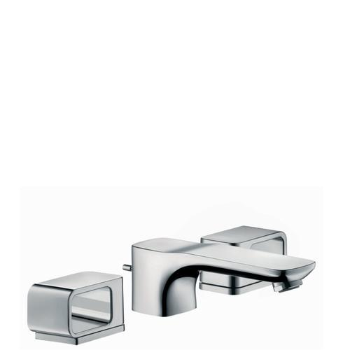 Chrome 3-hole basin mixer 50 with escutcheons and pop-up waste set
