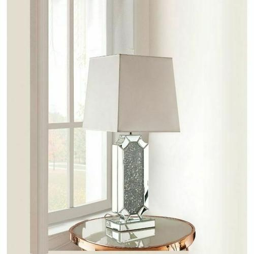 ACME Noralie Table Lamp - 40216 - Mirrored & Faux Diamonds