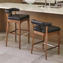 See Details - Moderno Bar Stool-Black Marble Leather