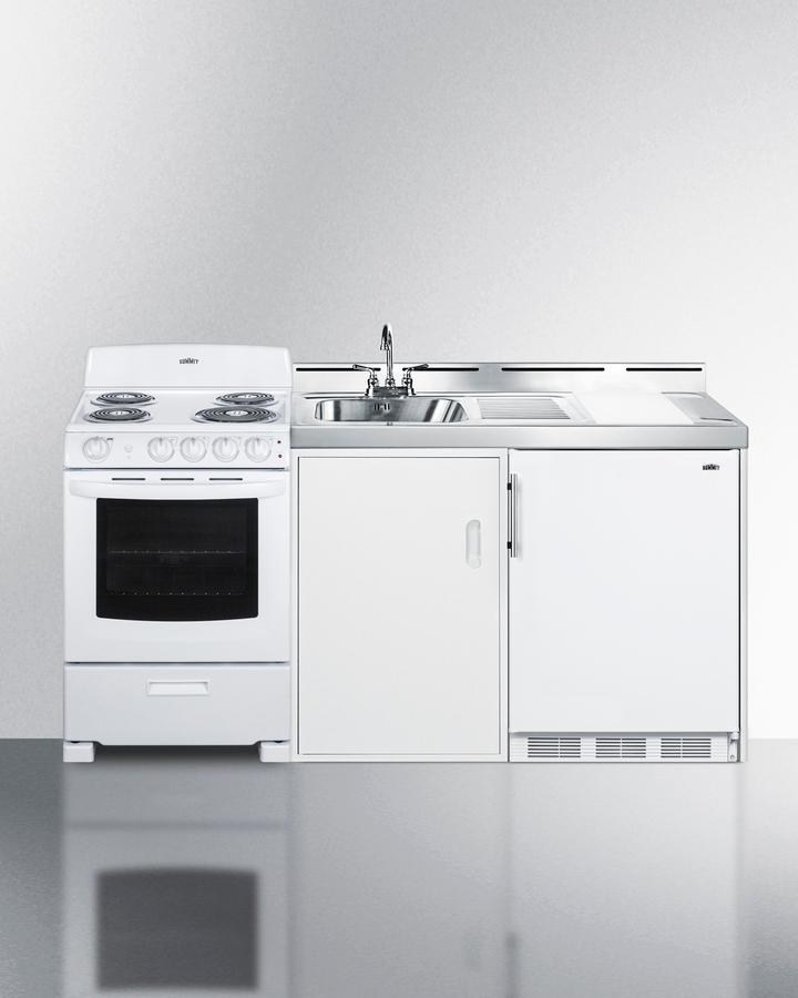 """Summit72"""" Wide All-In-One Kitchenette With Electric Coil Range"""