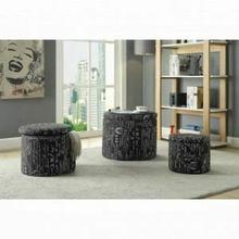 ACME Rapa 3Pc Pk Ottomans w/Storage - 96445 - Pattern Fabric