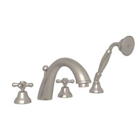 Verona 4-Hole Deck Mount C-Spout Tub Filler with Handshower - Satin Nickel with Cross Handle