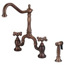 Carlton Kitchen Bridge Faucet with Metal Button Cross Handles - Oil Rubbed Bronze