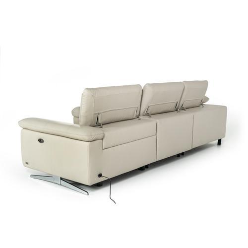 VIG Furniture - Divani Casa Maine - Modern Light Grey Eco-Leather Left Facing Sectional Sofa with Recliner