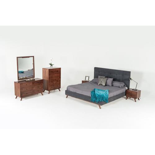 Modrest Addison Mid-Century Modern Grey & Walnut Bedroom Set