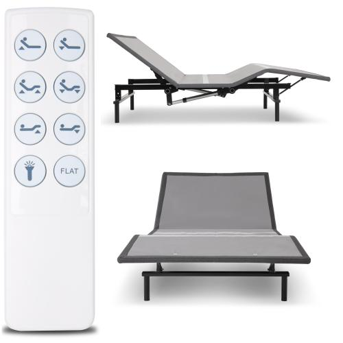 Leggett and Platt - Raven Low-Profile Adjustable Bed Base with Simultaneous Movement and Wireless Flashlight Remote, Charcoal Gray Finish, Twin