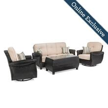 Breckenridge 4pc Patio Furniture Set w/ Natural Tan Cushion
