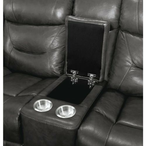 Homelegance - Power Double Reclining Love Seat with Center Console, Power Headrests and USB Ports