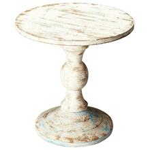 This solid wood pedestal table looks like it came right from your Grandma's Attic. The distressed Artifacts finish gives this table a homey, welcoming feel. Placed in any shabby chic home, this table will add functionality and style.