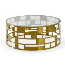 View Product - Modrest Kudo - Glam Clear Glass and Gold Glass Coffee Table