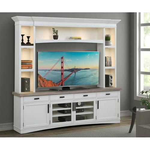 See Details - AMERICANA MODERN - COTTON 92 in. TV Console with Hutch and LED Lights