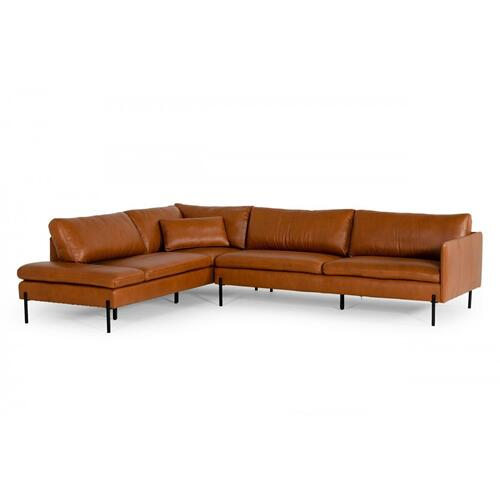 VIG Furniture - Divani Casa Sherry - Modern Cognac Leather Left Facing Sectional Sofa