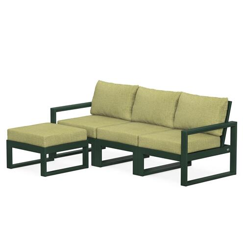 Polywood Furnishings - EDGE 4-Piece Modular Deep Seating Set with Ottoman in Green / Chartreuse Boucle