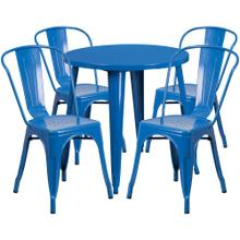 30'' Round Blue Metal Indoor-Outdoor Table Set with 4 Cafe Chairs