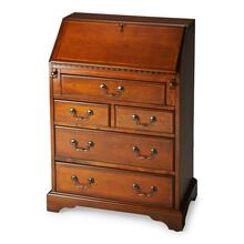 Selected solid woods, wood products and choice veneers. Cherry veneer top and sides. Cherry veneer drop front writing surface and drawer fronts with cherry veneer cross grain borders. Inset border inlay of maple veneer on drop front. Five drawers and two smaller drawers behind drop front all with antique brass finished hardware.