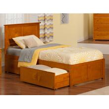View Product - Madison Twin XL Flat Panel Foot Board with 2 Urban Bed Drawers Caramel Latte