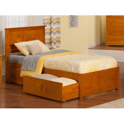 Madison Twin XL Flat Panel Foot Board with 2 Urban Bed Drawers Caramel Latte