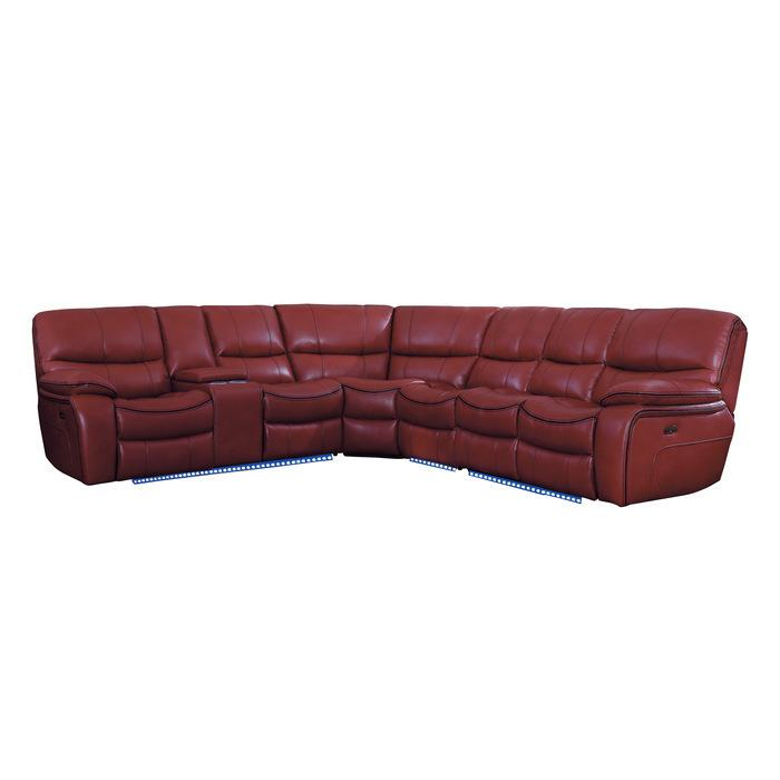 4-Piece Modular Power Reclining Sectional with Left Console and LED