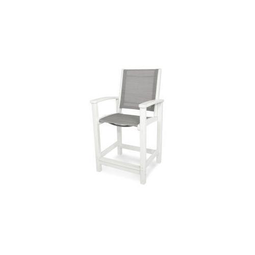 Polywood Furnishings - Coastal Counter Chair in White / Metallic Sling