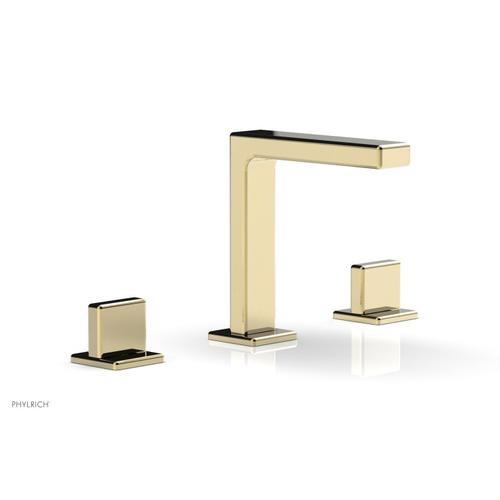 """MIX Widespread Faucet - Blade Handle 6-3/4"""" Height 290-01 - Polished Brass Uncoated"""