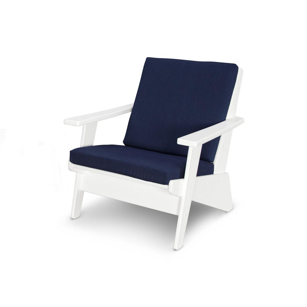 White & Spectrum Indigo Riviera Modern Lounge Chair
