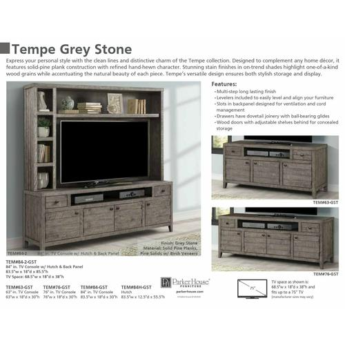 Parker House - TEMPE - GREY STONE 76 in. TV Console