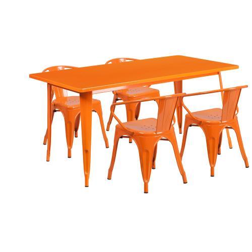 31.5'' x 63'' Rectangular Orange Metal Indoor-Outdoor Table Set with 4 Arm Chairs