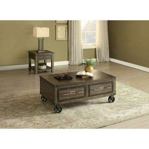 ACME Kailas Coffee Table - 82280 - Weathered Dark Oak