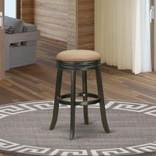 """Devers Swivel Backless Barstool 30"""" Seat Height With Black Leg And F12-12 Pu Leather Brown Roast"""