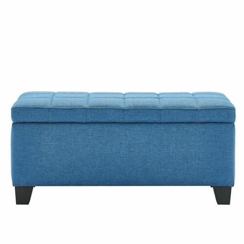 Worldwide Homefurnishings - Lila Rectangular Storage Ottoman in Blue