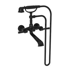 Gloss Black Exposed Tub & Hand Shower Set - Wall Mount