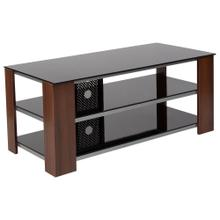 Black TV Stand with Glass Shelves, Steel Accents and Mahogany Wood Grain Finish Frame