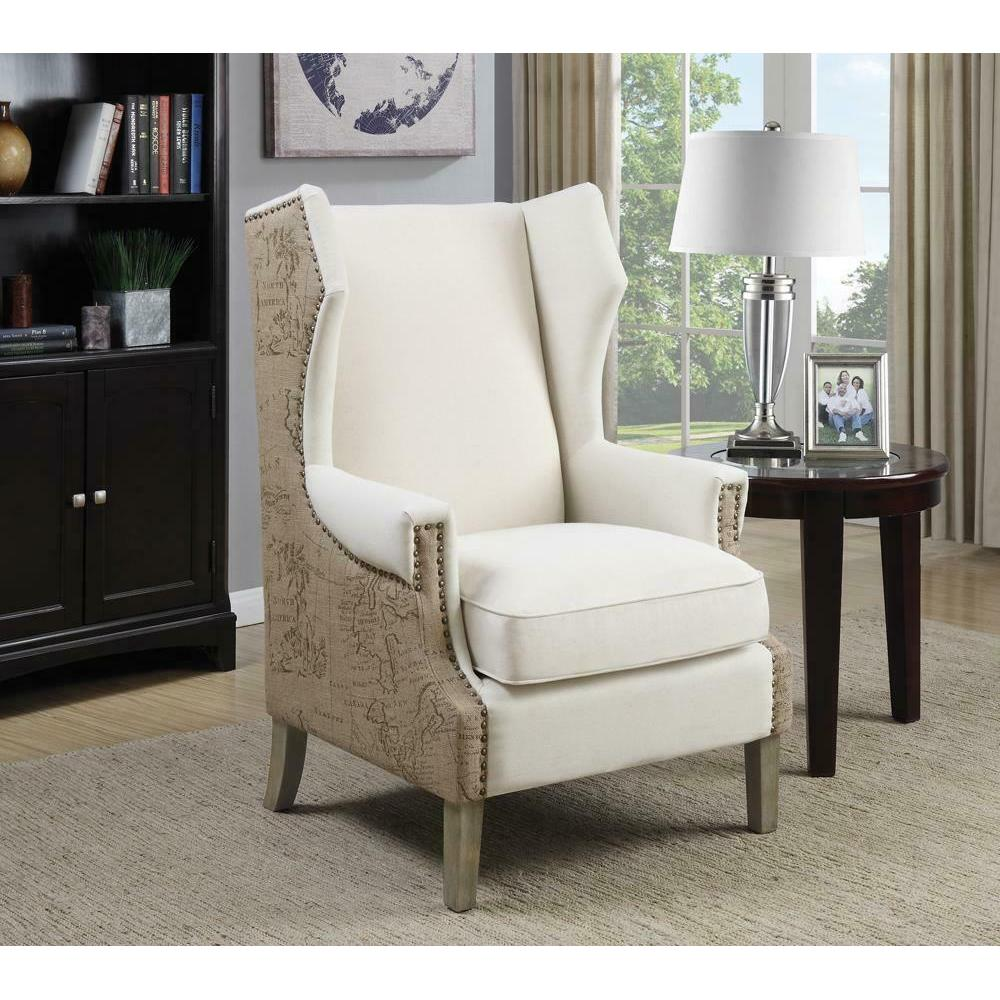 Traditional Cream Accent Chair With Vintage Print