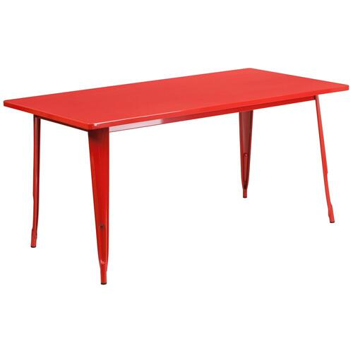 31.5'' x 63'' Rectangular Red Metal Indoor-Outdoor Table