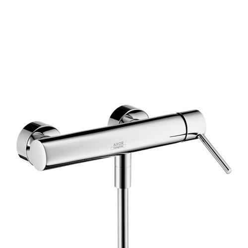 Polished Black Chrome Single lever shower mixer for exposed installation with pin handle