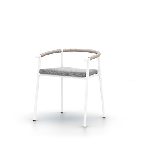 Faye Ash Cover Chord Outdoor Dining Chair, White