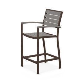 Polywood Furnishings - Eurou2122 Counter Arm Chair in Textured Bronze / Slate Grey