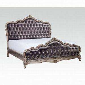 ACME Chantelle Queen Bed - 20540Q_KIT - Silver Gray Silk-Like & Antique Platinum -