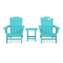 Polywood Furnishings - Wave Collection 3-Piece Set in Vintage Aruba