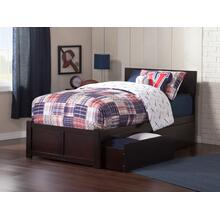 Orlando Twin XL Flat Panel Foot Board with 2 Urban Bed Drawers Espresso
