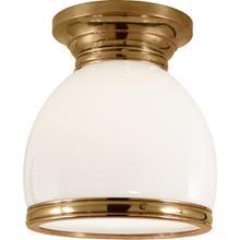 E. F. Chapman Edwardian 1 Light 10 inch Antique-Burnished Brass Flush Mount Ceiling Light in White Glass, Open Bottom
