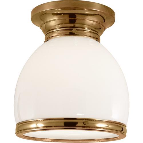 - E. F. Chapman Edwardian 1 Light 10 inch Antique-Burnished Brass Flush Mount Ceiling Light in White Glass, Open Bottom