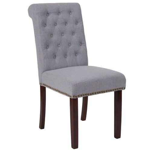 Light Gray Fabric Parsons Chair with Rolled Back, Accent Nail Trim and Walnut Finish