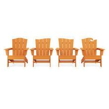 View Product - Wave Collection 4-Piece Adirondack Chair Set in Vintage Tangerine