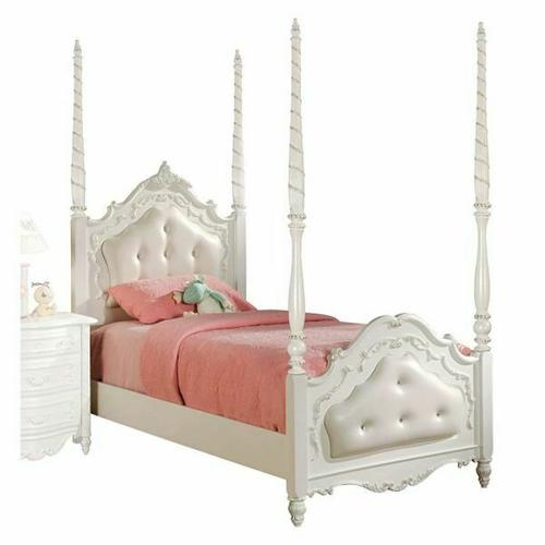 ACME Pearl Full Bed (Poster/Padded HB/FB) - 10995F - Pearl White