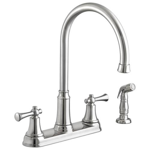 Portsmouth 2-Handle 1.5 GPM High-Arc Kitchen Faucet with Side Spray  American Standard - Stainless Steel