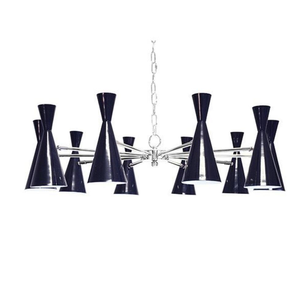 The Fabulous Fleming Chandelier Brings A Perfect Pop of Color To Your Mod Pod Vibe. Features Ten Navy Hourglass Metal Shades With Polished Nickel Detailing. Includes 6' of Matching Chain and Canopy for Your Custom Installation. Shine On!