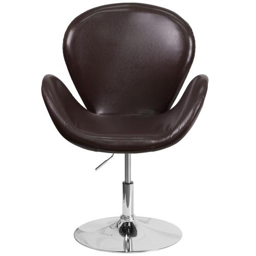 Brown Leather Side Reception Chair with Adjustable Height Seat
